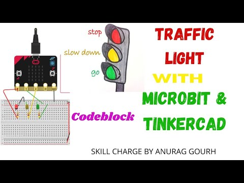 How to code & design traffic light on microbit using tinkercad / traffic light using codeblock