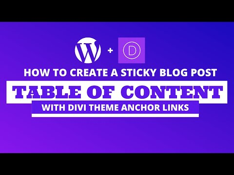 How to create a sticky blog post table of content using divi theme anchor links