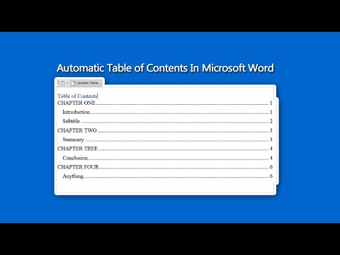 How to create an automatic table of contents in word (new)