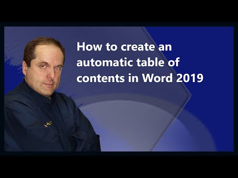 How to create an automatic table of contents in word 2019